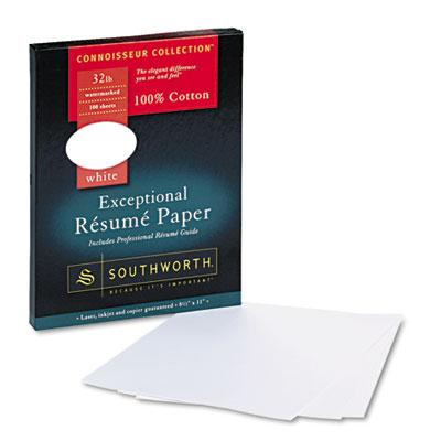 100% Cotton Resume Paper, White, 32 lbs., 8-1/2 x 11, Wove, 100/