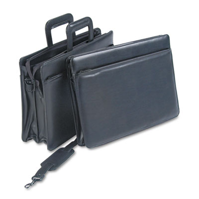 "Leatherette Zippered Portfolio, Five-Part, 4"" Capacity, 16-1/4 x"