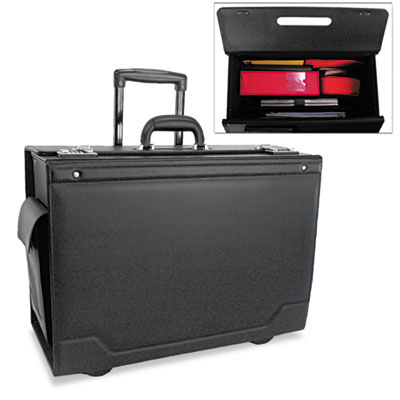 Wheeled Catalog Case, Leather-Trimmed Tufide, 21-3/4 x 15-1/2 x