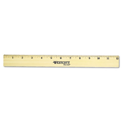 "Flat Wood Ruler w/Two Double Brass Edges, 12"", Clear Lacquer Fin"