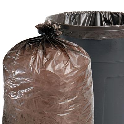 100% Recycled Plastic Garbage Bags, 60gal, 1.5mil, 36 x 58, Brow