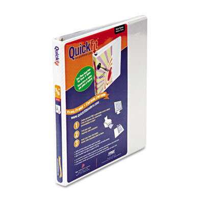 """Quick Fit D-Ring View Binder, 1/2"""" Capacity, White"""