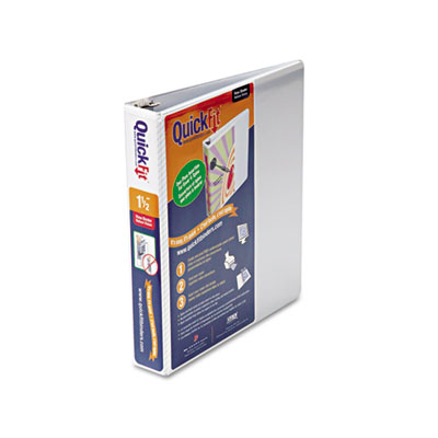 """Quick Fit D-Ring View Binder, 1-1/2"""" Capacity, White"""
