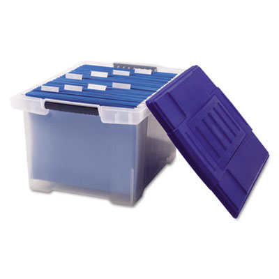 Plastic File Tote Storage Box, Letter/Legal, Snap-On Lid, Clear/