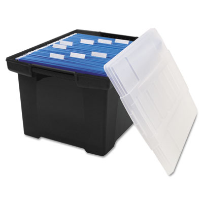 Plastic File Tote Storage Box, Letter/Legal, Snap-On Lid, Black