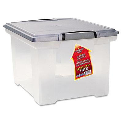 Portable File Tote w/Locking Handle Storage Box, Letter/Legal, C