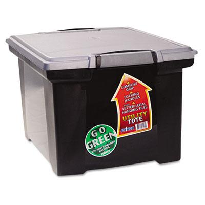 Portable File Tote w/Locking Handle Storage Box, Letter/Legal, B