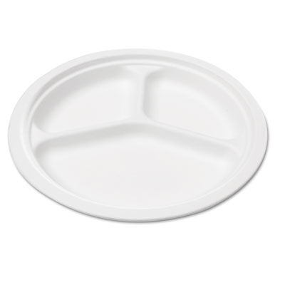 "Bagasse 10"" Three-Compartment Plate, Round, White, 50/Pack"