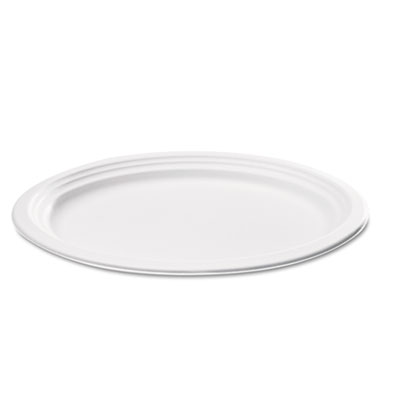 "Bagasse Oval Plate, 9"" x 6 1/2"", White, 125/Pack"