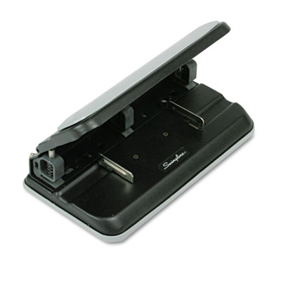 "32-Sheet Easy Touch Three- to Seven-Hole Punch, 9/32"" Holes, Bla"