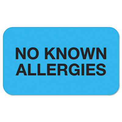 """No Known Allergies"" Medical Labels, 7/8 x 1-1/2, Light Blue, 25"