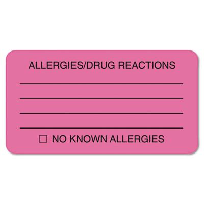 Allergies/Drug Reaction Labels, 1-3/4 x 3-1/4, Fluor Pink, 250/R