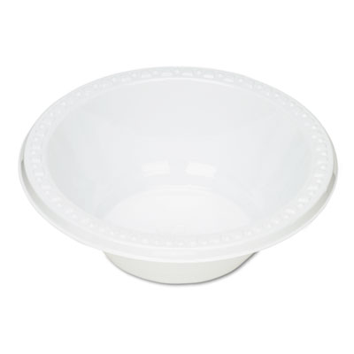 Plastic Dinnerware, Bowls, 12oz, White, 125/Pack