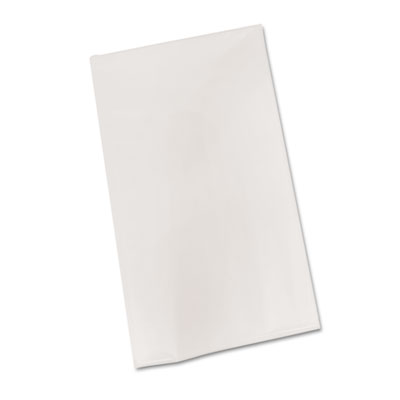 "Bio-Degradable Plastic Table Cover, 54"" x 108"", White, 6/Pack"