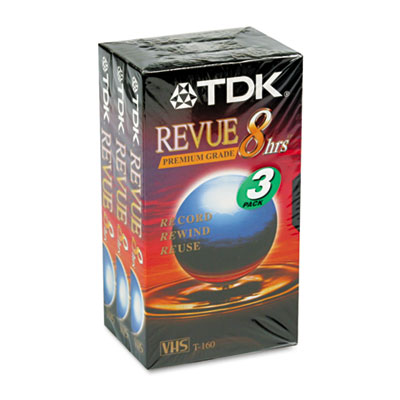 Standard Grade VHS Videotape Cassette, 8 Hours, 3/Pack