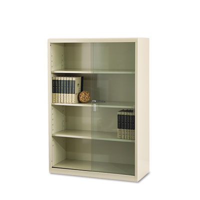 Executive Steel Bookcase With Glass Doors, Four-Shelf, 36w x 15d
