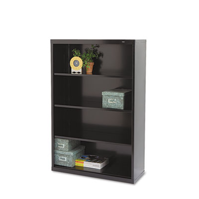 Metal Bookcase, Four-Shelf, 34-1/2w x 13-1/2d x 52-1/2h, Black