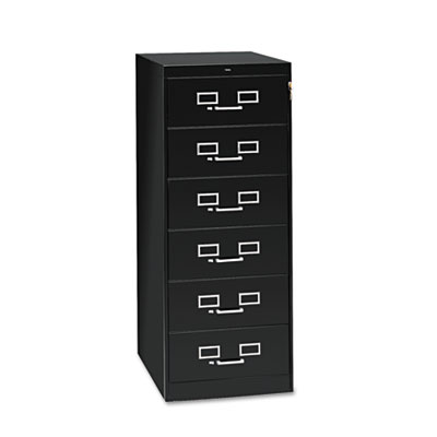 Six-Drawer Multimedia Cabinet For 6 x 9 Cards, 21-1/4w x 52h, Bl