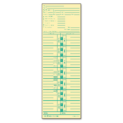 Time Card for Acroprint and Lathem, Weekly, 3 1/2 x 10 1/2, 500/