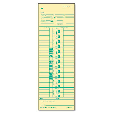 Time Card for Cincinnati, Simplex, Weekly, 3 1/2 x 10 1/2, 500/B