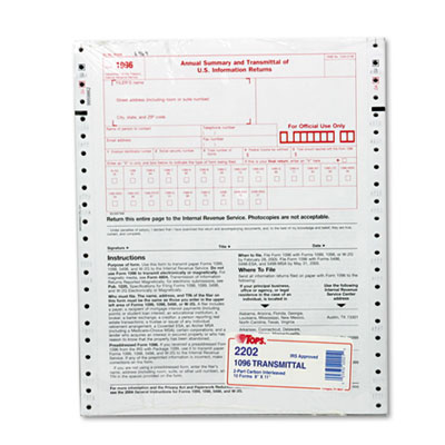 1096 IRS Approved Tax Forms, 8 x 11, 2-Part Carbon, 10 Contin Fo