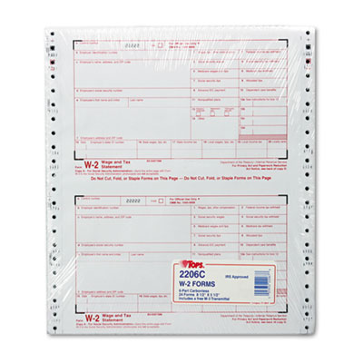 W-2 Tax Form, Six-Part Carbonless, 24 Forms