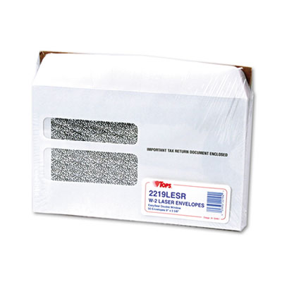 Double Window Tax Form Envelope/W-2 Laser Forms,9x5-5/8,50/Pack