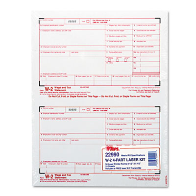 W-2 Tax Form, Four-Part Carbonless, 50 Forms