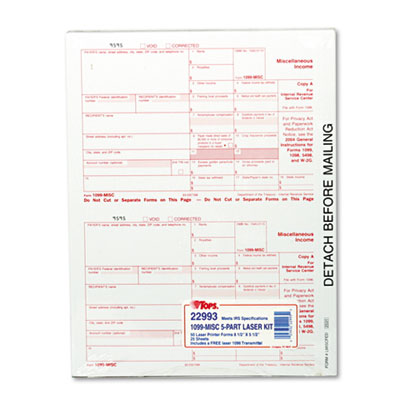 IRS Approved 1099 Tax Form, 8 x 5-1/2, Five-Part Carbonless, 50