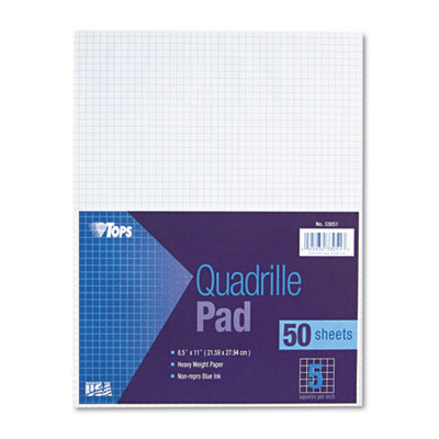 Quadrille Pads, 5 Squares/inch, 8-1/2 x 11, White, 50 Sheets