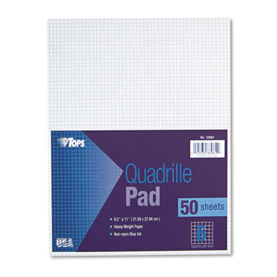 Quadrille Pads, 6 Squares/inch, 8-1/2 x 11, White, 50 Sheets