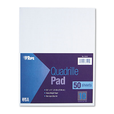 Quadrille Pads, 10 Squares/inch, 8-1/2 x 11, White, 50 Sheets