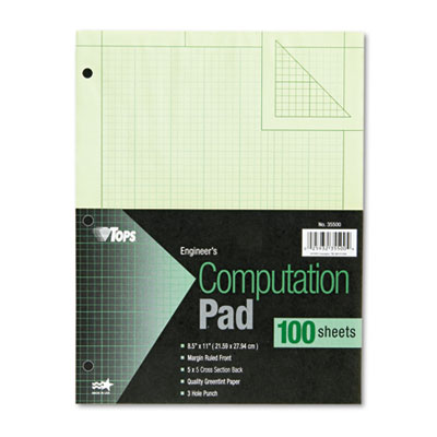 Engineering Computation Pad, Quad Rule, Letter, Green, 100 Sheet