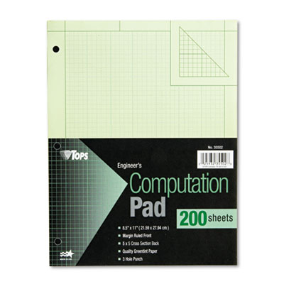 Engineering Computation Pad, Quadrille Rule, Letter, Green, 200
