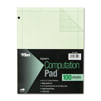 Engineering Computation Pad, Grid to Edge, Quad Rule, Ltr, Green
