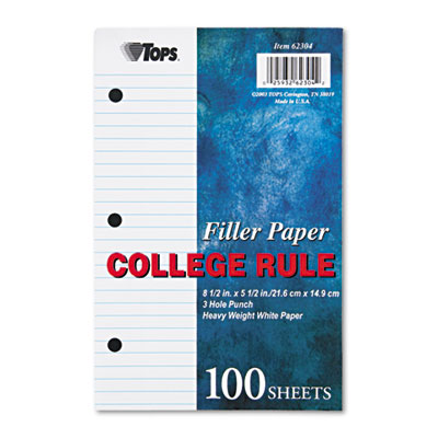 Filler Paper, 20-lb., 8-1/2 x 5-1/2, College Rule, White, 100 Sh