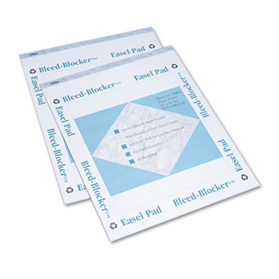 Bleed-Blocker Easel Pad, Unruled, 27 x 34, White, 2 40-Sheet Pad