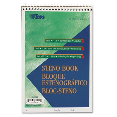 Gregg Steno Books, 6 x 9, Green Tint, 80-Sheet Pad