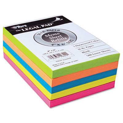 Assorted Fluorescent Color Memo Sheets, 4 x 6, 500 Loose Sheets/