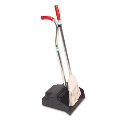 Ergo Dustpan With Broom, 12 Wide, Metal w/Vinyl Coated Handle, B