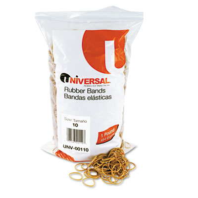 Rubber Bands, Size 10, 1-1/4 x 1/16, 3400 Bands/1lb Pack