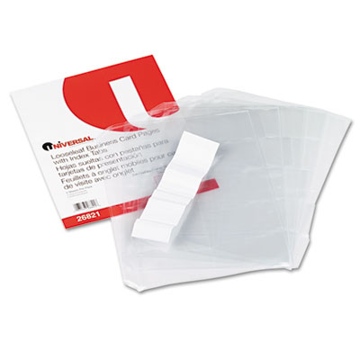 Business Card 3-Ring Binder Pages, 20 2 x 3 1/2 Cards/Page, 5 Pa