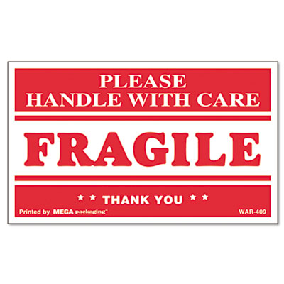 FRAGILE HANDLE WITH CARE Self-Adhesive Shipping Labels, 3 x 5, 5