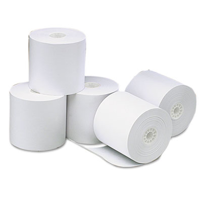 "Single-Ply Thermal Paper Rolls, 3 1/8"" x 273 ft, White, 50/Carto"