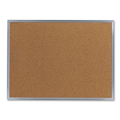 Bulletin Board, Natural Cork, 24 x 18, Satin-Finished Aluminum F