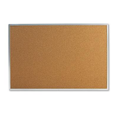 Bulletin Board, Natural Cork, 36 x 24, Satin-Finished Aluminum F