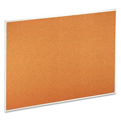 Bulletin Board, Natural Cork, 48 x 36, Satin-Finished Aluminum F