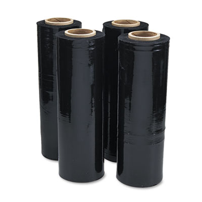 Black Stretch Film, 18w x 1, 500ft Roll, 20mic (80-Gauge), 4/Car