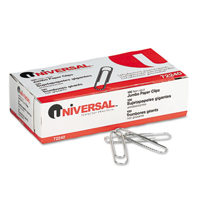 Nonskid Paper Clips, Wire, Jumbo, Silver, 100/Box, 10 Boxes/Pack