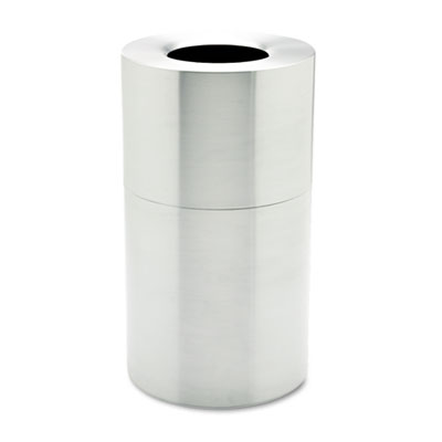 Two-Piece Open Top Indoor Receptacle, Round, Satin Aluminum, 35g